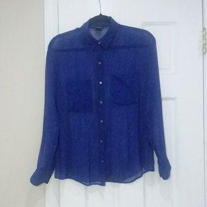 Club Monaco sheer silk blue button-down blouse